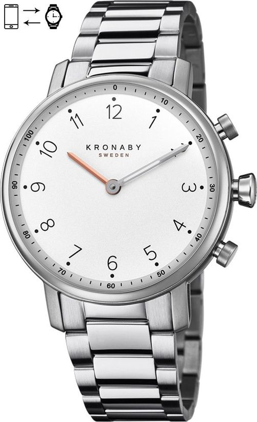 Kronaby Sweden Nord 38mm High End Luxury Hybrid Silver steel Smart Watch S0710-1