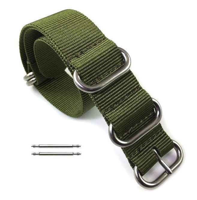 Lacoste Compatible 5 Ring Ballistic Army Military Green Nylon Fabric Replacement Watch Band Strap #3015