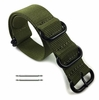 Lacoste Compatible 5 Ring Ballistic Army Military Green Nylon Replacement Watch Band Strap PVD #3016