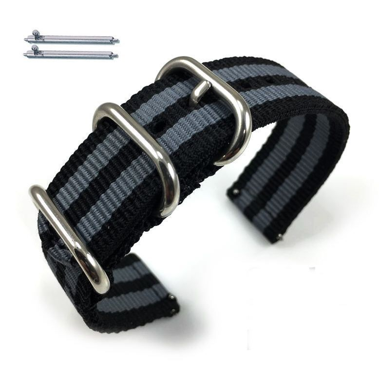 Lacoste Compatible Black & Gray Stripes Nylon Watch Band Strap Belt Army Military Silver Buckle #6041
