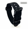 Lacoste Compatible Black One Piece Slip Through Nylon Watch Band Army Military Black Buckle #6022