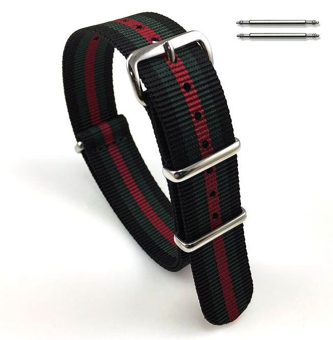 Lacoste Compatible Black Red Green Stripes One Piece Slip Through Nylon Watch Band Strap Buckle #6F20