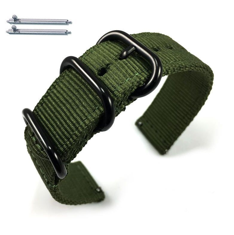 Lacoste Compatible Green Nylon Watch Band Strap Belt Army Military Ballistic Black Buckle #6034
