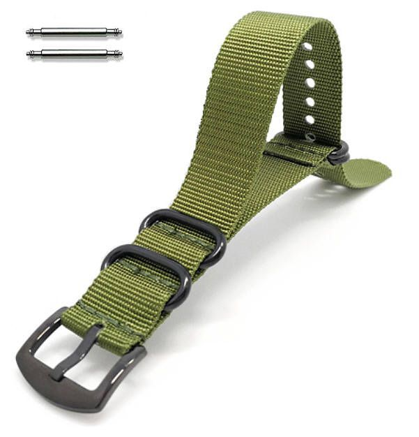 Lacoste Compatible Green One Piece Slip Through Nylon Watch Band Army Military Black Buckle #6024