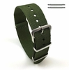 Lacoste Compatible Military Green One Piece Slip Through Nylon Watch Band Strap Silver Buckle #6006
