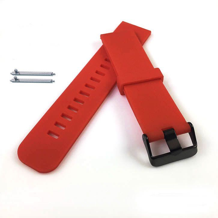 Lacoste Compatible Red Silicone Rubber Replacement Watch Band Strap Wide PVD Metal Steel Buckle #4027