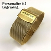 Steel Metal Adjustable Mesh Bracelet Watch Band Strap Double Lock Clasp Gold #5027