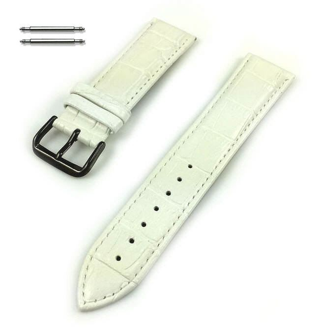 Lacoste Compatible White Croco Genuine Leather Replacement Watch Band Strap Black PVD Steel Buckle #1055