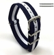 Lacoste Compatible White & Navy Stripes One Piece Slip Through Nylon Watch Band Strap SS Buckle #6008