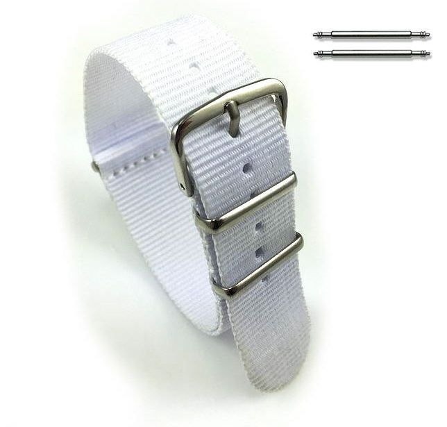 Lacoste Compatible White One Piece Slip Through Nylon Watch Band Strap Silver Steel Buckle #6005