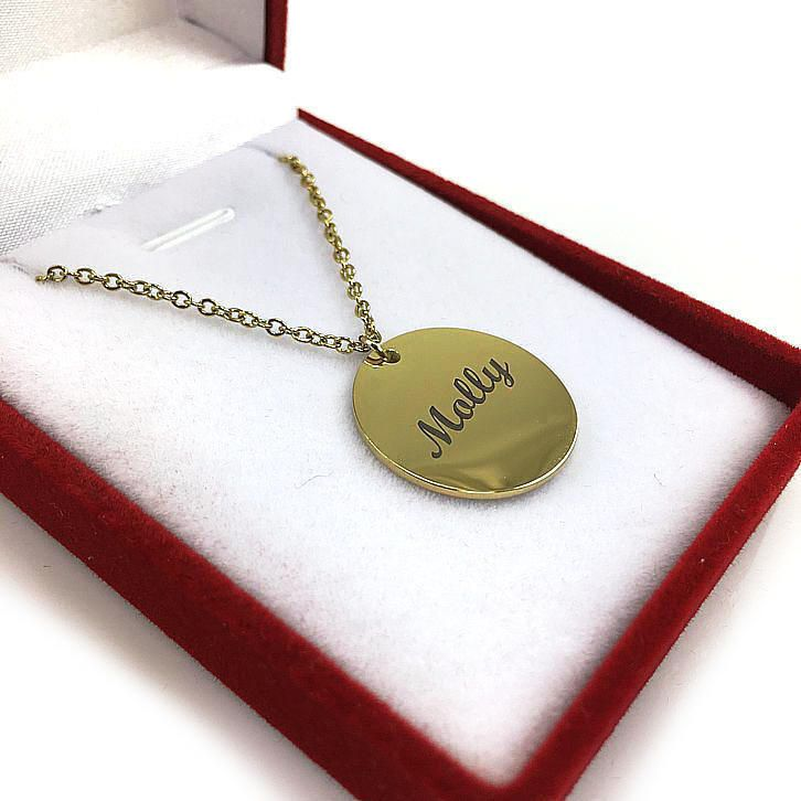 Ladies Personalized Engraved Gold Tone Round Name Plate Necklace Engraving Pendant 1027