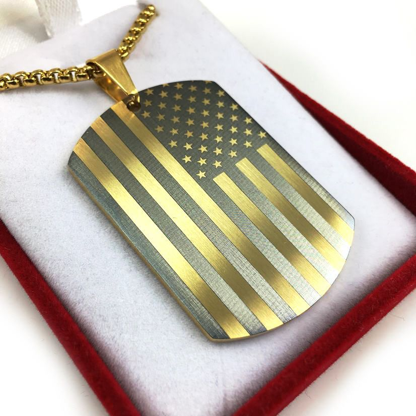 Laser Engraved USA American Flag Dog Tag Necklace Gold Tone Steel Pendant 1003