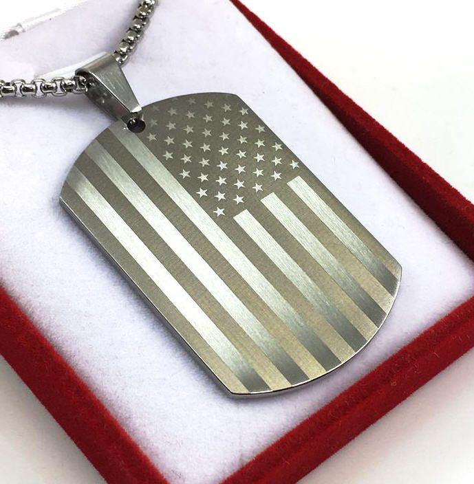Laser Engraved USA American Flag Dog Tag Necklace Steel Pendant 1001