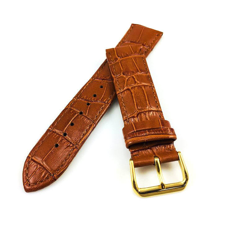 Timex Compatible Light Brown Croco Leather Watch Band Strap Belt Gold Steel Buckle #1084