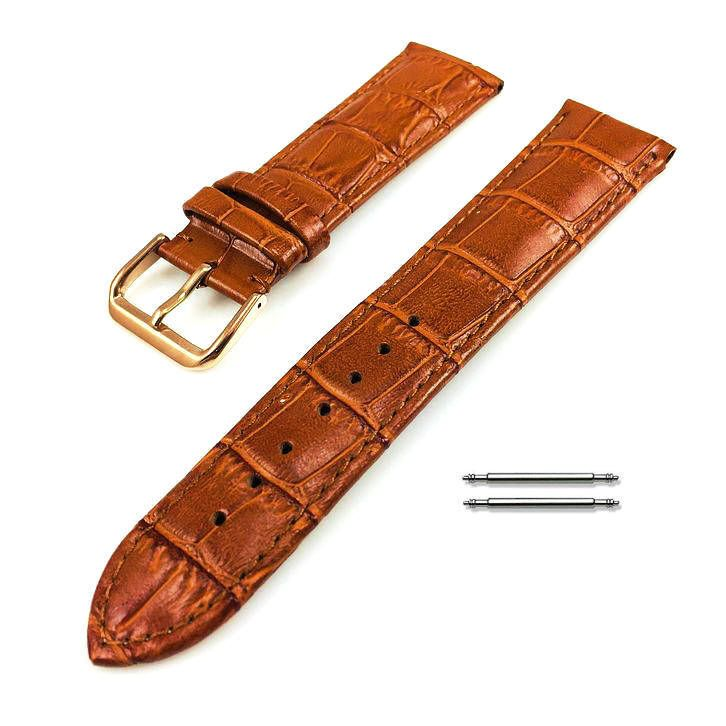 Light Brown Croco Leather Replacement 18mm Watch Band Strap Rose Gold Buckle #1074
