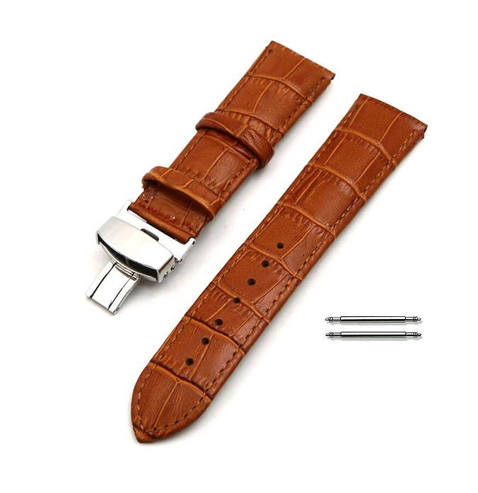 Light Brown Croco Leather Replacement 20mm Watch Band Butterfly Buckle #1033