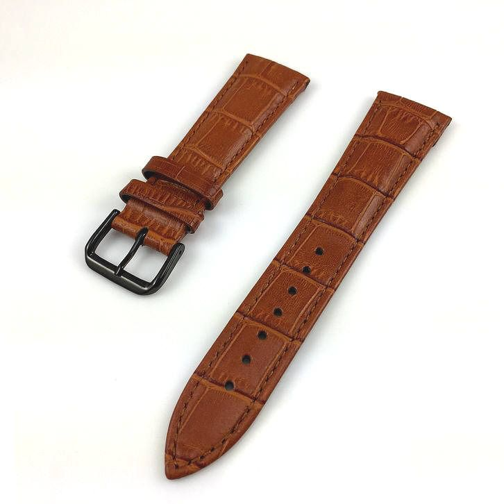 Light Brown Croco Leather Replacement 20mm Watch Band Strap Black Buckle #1054