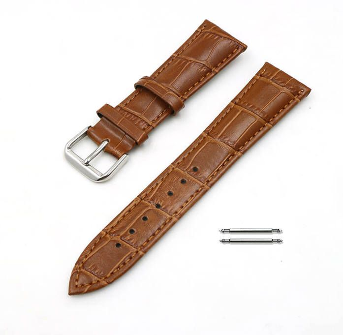 Light Brown Croco Leather Replacement 20mm Watch Band Strap Steel Buckle #1044