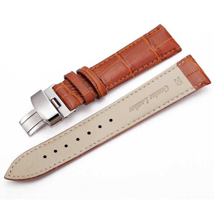 Timex Compatible Light Brown Croco Leather Replacement Watch Band Strap Steel Butterfly Buckle #10314