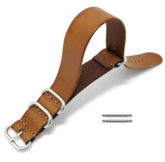Light Brown One Piece Slip Through Leather 20mm Watch Band Strap 4 Rings #1093