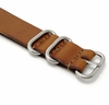 Light Brown One Piece Slip Through Leather Watch Band Strap Belt 4 Rings #1093