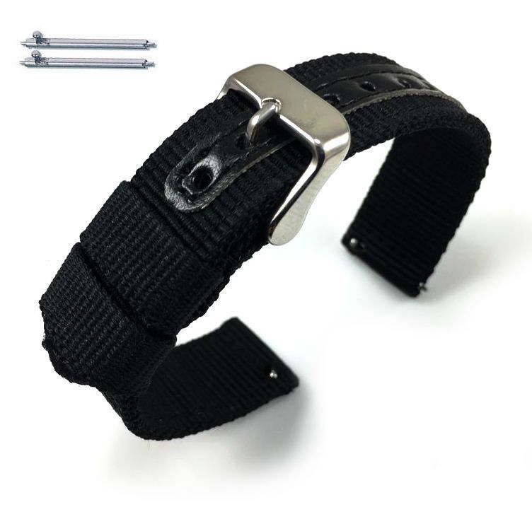 Longines Compatible Black Canvas Nylon Fabric Watch Band Strap Army Military Style Steel Buckle #3051