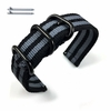 Longines Compatible Black & Gray Stripes Nylon Watch Band Strap Belt Army Military Black Buckle #6042