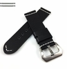 Longines Compatible Black Leather Replacement Watch Band Strap Brushed Steel Buckle White Stitching #1101