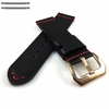 Longines Compatible Black Leather Replacement Watch Band Strap Rose Gold Buckle Red Stitching #1106