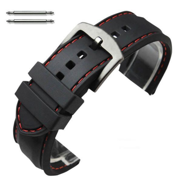 Longines Compatible Black Rubber Silicone PU Replacement Watch Band Strap Steel Buckle Red Stitching #4008