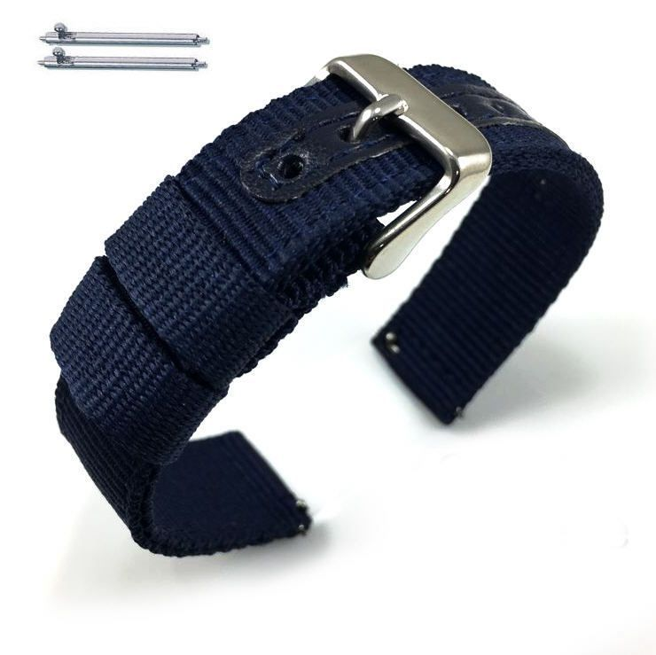 Longines Compatible Blue Canvas Nylon Fabric Watch Band Strap Army Military Style Steel Buckle #3054