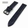 Longines Compatible Blue Croco Genuine Leather Replacement Watch Band Strap Black PVD Steel Buckle #1053