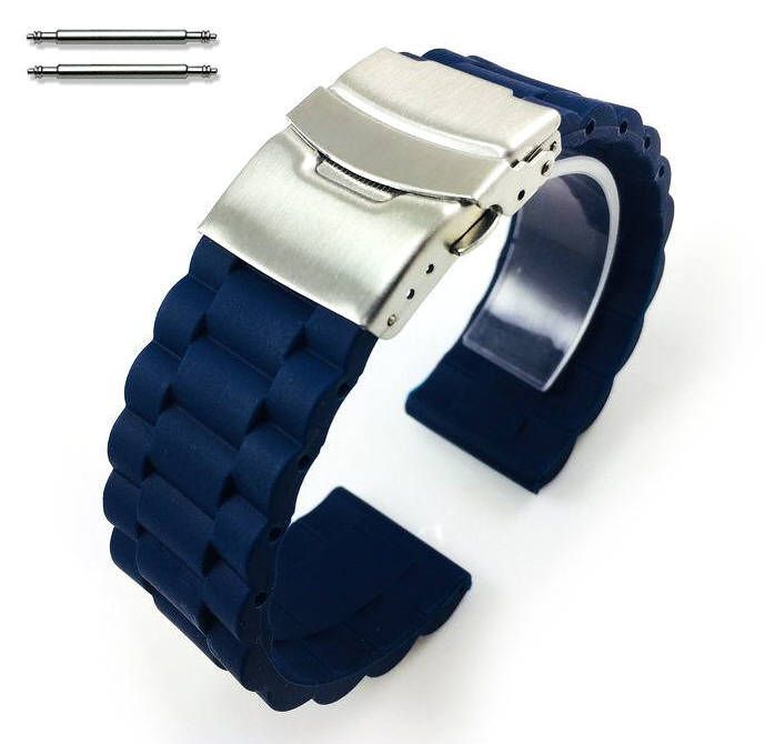 Longines Compatible Blue Rubber Silicone Replacement Watch Band Strap Double Locking Buckle #4092