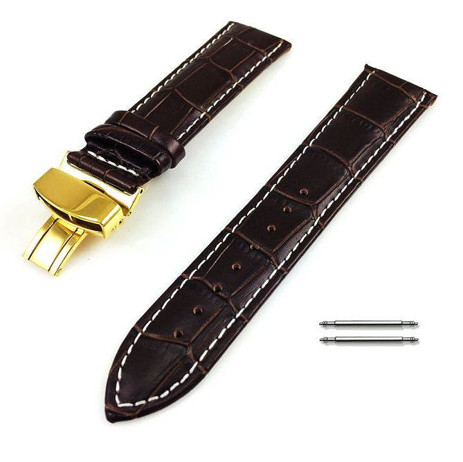 Longines Compatible Brown Croco Leather Watch Band Strap Belt Gold Butterfly Buckle White Stitching #1039