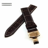Longines Compatible Brown Croco Leather Watch Band Strap Rose Gold Butterfly Buckle White Stitching #1038