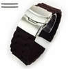 Longines Compatible Brown Rubber Silicone Replacement Watch Band Strap Double Locking Buckle #4095