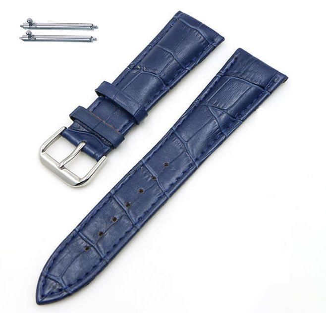 Longines Compatible Dark Blue Croco Genuine Leather Replacement Watch Band Strap Steel Buckle #1043