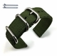 Longines Compatible Green Nylon Watch Band Strap Belt Army Military Ballistic Silver Buckle #6033