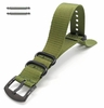 Longines Compatible Green One Piece Slip Through Nylon Watch Band Army Military Black Buckle #6024