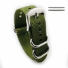 Longines Compatible Green One Piece Slip Through Nylon Watch Band Army Military Silver Buckle #6023