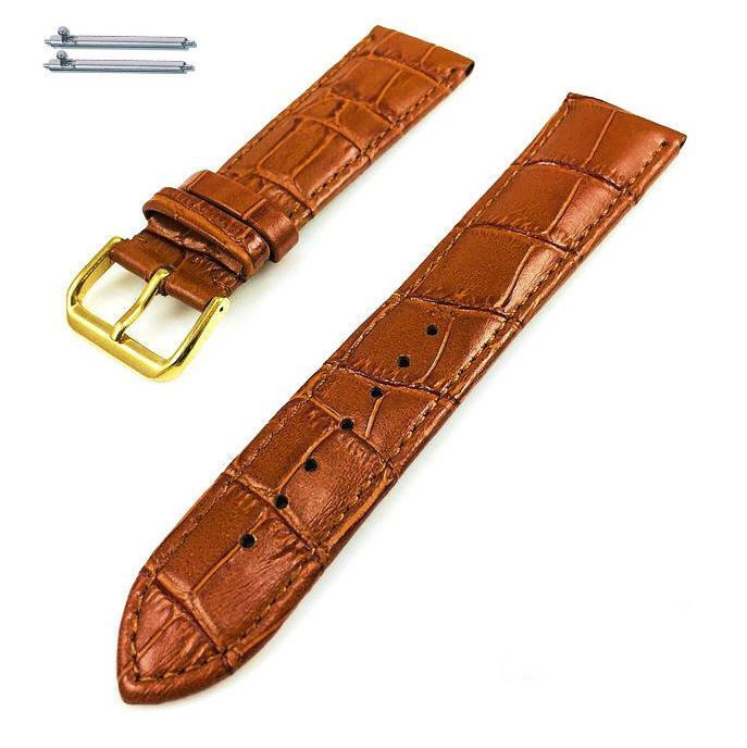 Longines Compatible Light Brown Croco Leather Watch Band Strap Belt Gold Steel Buckle #1084