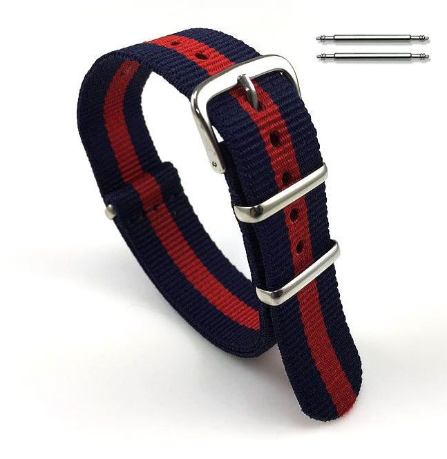 Longines Compatible Red and Navy Stripes One Piece Slip Through Nylon Watch Band Strap SS Buckle #6007