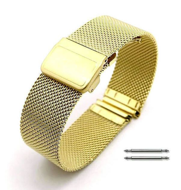 Longines Compatible Stainless Steel Metal Adjustable Mesh Bracelet Replacement Watch Band Strap Gold #5023