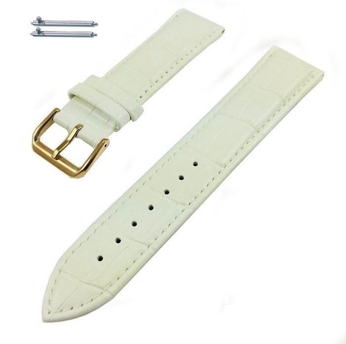 Longines Compatible White Croco Leather Replacement Watch Band Strap Rose Gold Steel Buckle #1075