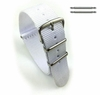 Longines Compatible White One Piece Slip Through Nylon Watch Band Strap Silver Steel Buckle #6005
