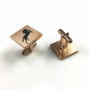 Men Personalized Cufflinks Square Steel Bucking Horse Stallion Name Engraving #0071