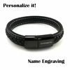 Men's Black Braided Leather Bangle Bracelet Personalized Name Engraving #1003
