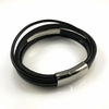 Men's Black Leather Bangle Bracelet Personalized Buckle Name Engraving #1014