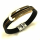 Men's Black Leather & Gold tone Steel Bangle Bracelet Personalized Engraving #34
