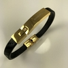 Men's Black Leather & Gold Tone Steel Bangle Bracelet Personalized Engraving #41